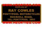 Ray Cowles Pontypool Motorcycles Dealer Decals Transfers DDQ49